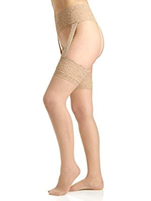 Berkshire Women's Plus-Size Sexyhose Lace Garter with Stocking - Sandalfoot 4909, Nude, Queen 2