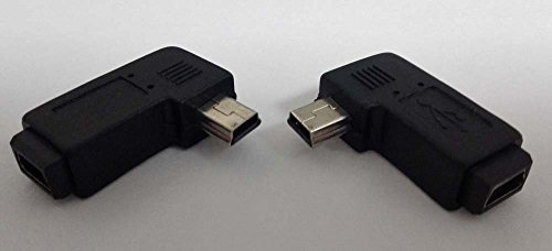 Pair 90degree B Left Right Angle Mini Usb Male to Mini Female Connector Adapter