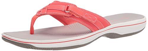 Clarks Women's Breeze Sea Flip-Flop, Bright Coral Synthetic, 6