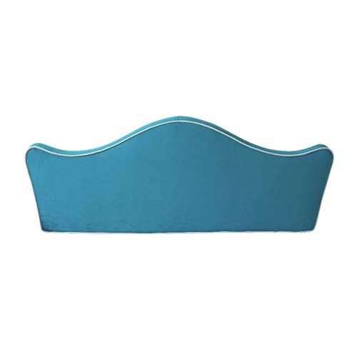 KKCF-Cojín para cabecero, funda suave, diseño de corona de dibujos animados, lavable de fibra superfina de larga duración, para embellecer la esponja de alta densidad, Azul pavo real, 165x62x8cm