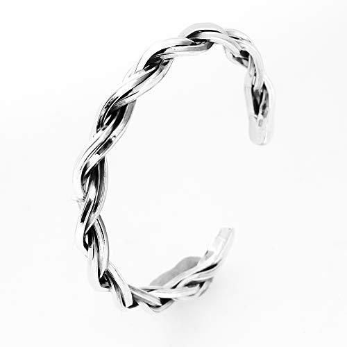 TreasureBay 925 Sterling Silver Twist Plait Torque Bangle Adjustable Bangle for Men and Women