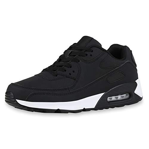 SCARPE VITA Herren Sportschuhe Laufschuhe Profilsohle Freizeit Sneaker Leder-Optik Schuhe Schnürer Fitness 186113 Schwarz Black 43