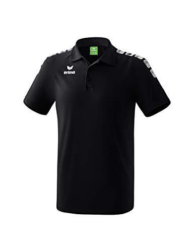 ERIMA Erwachsene Poloshirt Essential 5-C, schwarz/weiß, L, 2111901