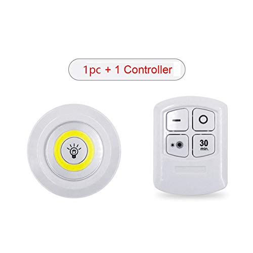 LED Light Wireless Remote Control Night Light 3W Super Bright COB Under Cabinet Light Dimmable Wardrobe Lamp Home Bedroom Closet - 1 remote 1 light,White