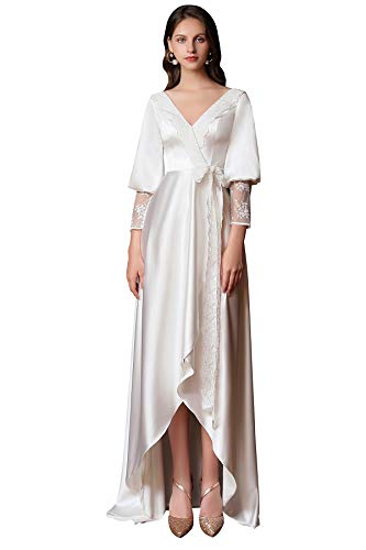vannawong Damen Hochzeit Brautjungfer Robe Seide Satin Spitze Unregelmäßig Sexy V-Ausschnitt Braut Nachthemd Langarm Mutterschaft Nachtwäsche Kleid EU 56