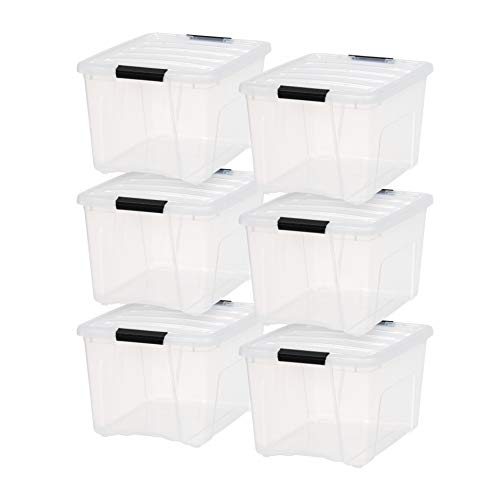 IRIS USA TB-36 Stack & Pull Box, Multi-Purpose Storage Bin, 40 Quart, Clear, 6 Pack