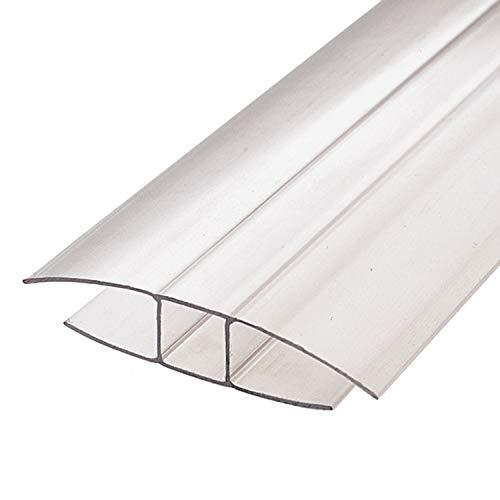 IRONLUX Perfil cierre de policarbonato en forma de H | Junta Policarbonato, Longitud 2 m, Espesor 8 mm