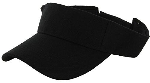 DealStock Plain Men Women Sport Sun Visor One Size Adjustable Cap (29+ Colors) (Black)
