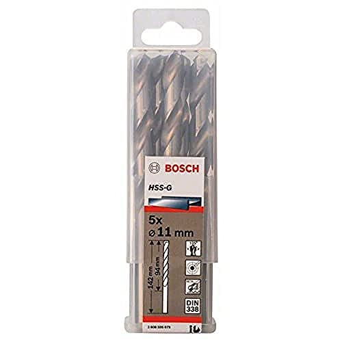 Bosch 2608595079 Din338 HSS-G Metal Drill Bit, 11.0mm x 94mm x 142mm, Silver