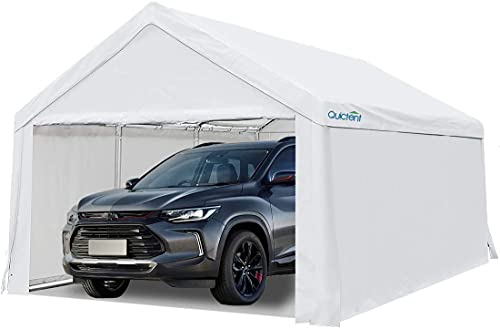 Quictent 10'x20' Carport Car Canopy Heavy Duty Galvanized Frame Car Shelter with Ground Bar-White