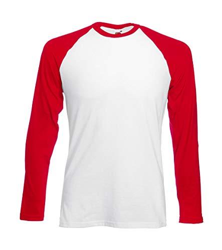 Fruit of the Loom Baseball Langarm ( Longsleeve ) T-Shirt S M L XL XXL Weiss - Rot,M