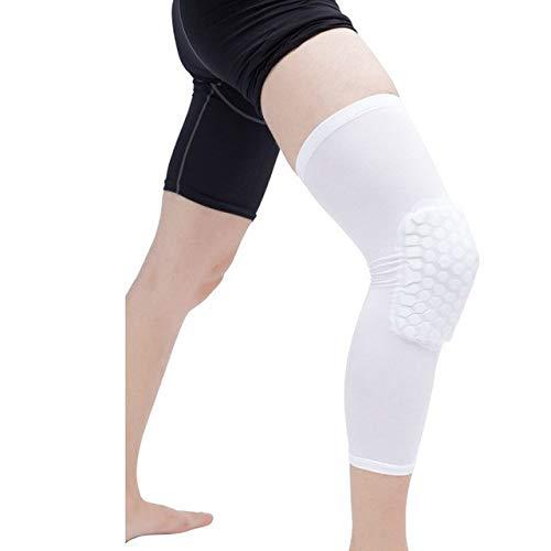 YUXIN Zhaochen 1PC Basketball Knieschützer Sleeve Honeycomb Brace Elastic Knieschützer Protektoren Patella Schaum-Träger Volleyball-Support (Color : White, Size : L)