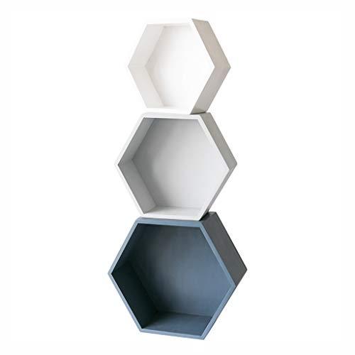 Cdbl Ins Nordic Floor boekenrek, van massief hout, creatief hexagon-boekenrek, cosmetische desktop-opbergbox, kant-en-klaar frame