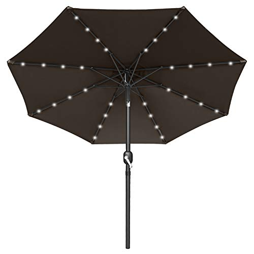 MASTERCANOPY Patio Umbrella Outdoor Fe-Al Market Table Umbrella with 8 Sturdy Ribs (7.5FT, Forest Green)