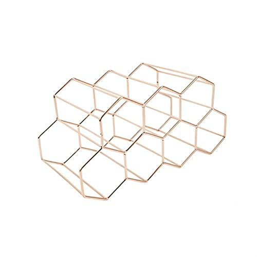 KENSG Metal Metal Honeycomb Wine Rack Almacenamiento Beehive Rack Hexagon Pantalla Estante De Vino (Color : Gold)