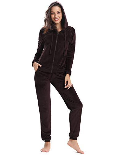 Abollria Women Tracksuits Velour 2 Piece Sweatsuit Top and Bottoms Casual Loungewear Joggers Set Tracksuit Coffee