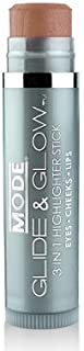 MODE, Glide & Glow, Glaze (Bronze Brown) 3-in-1 Highlighter Stick, Smooth Creamy Color for Eyes, Cheeks, Lips, Natural Skincare Ingredients, Cruelty Free, Vegan, Made in Beautiful USA.15 oz