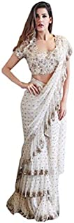 Diya Womens Sarees Women's Georgette Fabric with Sequence Work and Embroidery on Bangalori Beautiful Ruffle Saree (3RDC, White)