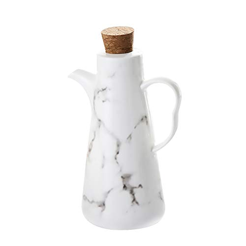 Oil Dispenser Bottle 17 OZ 500 ML Ceramic Tabletop Olive Oil Dispenser Bottle  Soy Sauce or Vinegar Cruet with Pourer  Modern marble Ceramic Dinner Liquid Condiment Dispenser