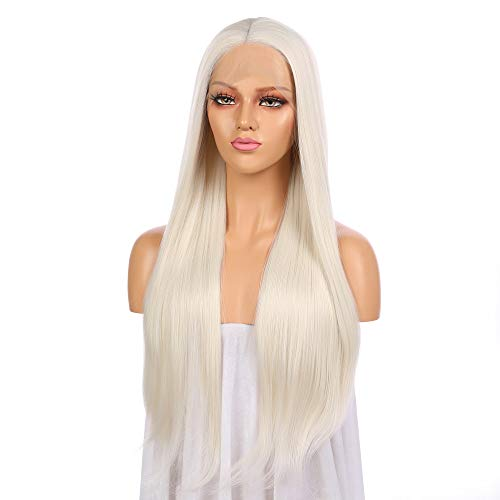 Platinum White Hair Transparent Middle Lace Women Wig, 26 inches Silky Straight 150% Density Hand Tied Synthetic Heat Resistant Hair Glue-less Wig