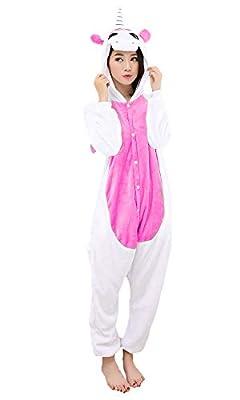 Pijama unicornio Cosplay – Halloween Carnaval Unisex Adulto Disfraz Animales Capucha Franela 1 Rosa Oscuro Pequeño (145 – 5 cm)