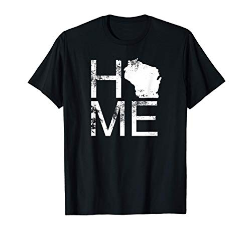 Vintage Wisconsin Home Map In Place Of O WI State Wisconsin T-Shirt