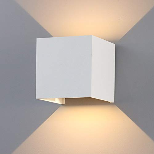 K-Bright Modernes Up&Down Außenwandleuchte,12W Wandleuchte,IP65 Wasserdichtes Gehäuse aus Aluminium Wohnzimmer Schlafzimmer Nachtlicht,100 * 100 * 100mm,warmweiß