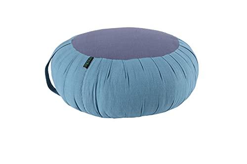 ANADEO YogaProducts ZAFU - Cojín de Yoga y Meditación - Capok de Alta Densidad 100% Natural - Asiento Firme y Cómodo - Espesor Redondo 15 cm - Azul Niagara Gris