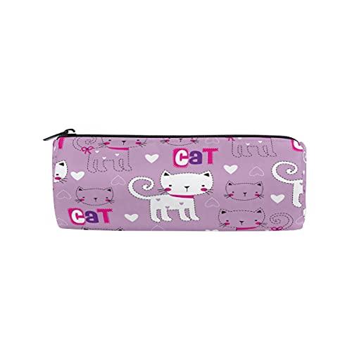 HaJie - Estuche para lápices con diseño de gato con frase en inglés 'Gatito', con cremallera, organizador de papelería, para niñas, niños, mujeres y hombres