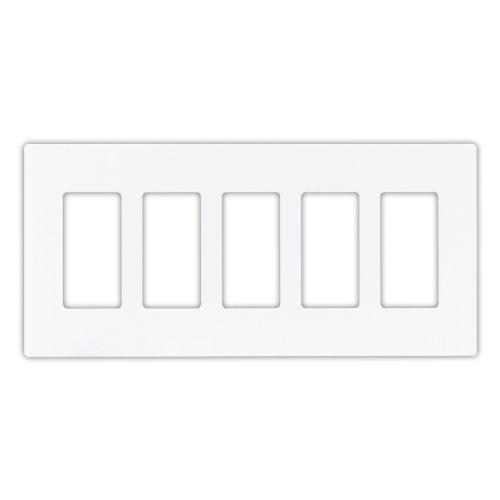 Eaton PJS265W Decorator Screwless Wallplate, 5-Gang, White