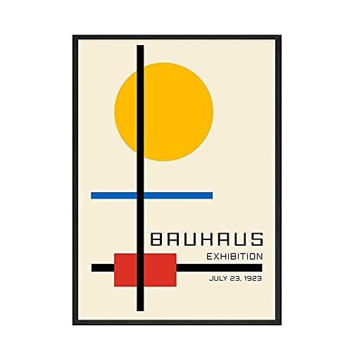 Bauhaus Retro abstracto cartel impresión naranja geométrico Rektangel Kunst pared arte imagen familia sin marco lienzo pintura C 70x100cm