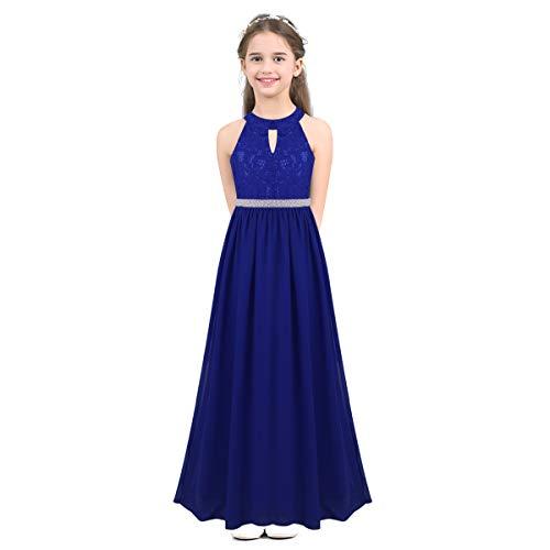 IEFIEL Vestido de Fiesta Ceremonia Boda Niña Vestido de Flores Encaje Gala Verano Vestido Largo Princesa sin Mangas Cintura Dorada con Perlas Elegante Lujo Bowknot