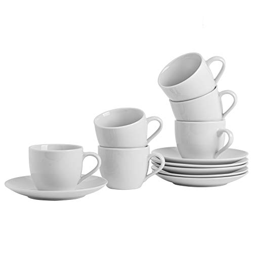 Argon Tableware Ensemble de Tasses à Cappuccino avec soucoupes Assorties Blanches - 220 ML (7 oz) - Lot de 6