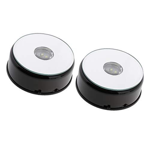 Generic ABS Kunststoff Elektro Drehteller Schmuckständer Halter Weiß X2 - Schwarz, 2er Set