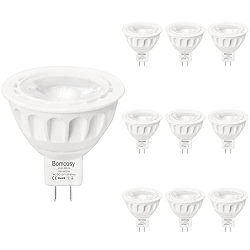 Bomcosy Ampoules LED MR16, Ampoules LED GU5.3 5W équivalent 50W, 420lm, Blanc Froid 6000K, 36 °Faisceaux, Ampoules LED Spot, Lot de 10, CC/CA 12V