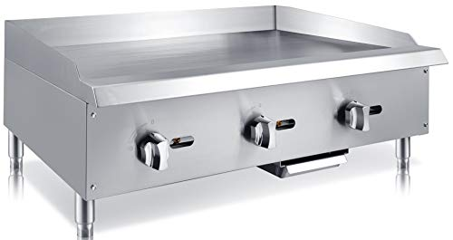 Chef's Exclusive CE787 Commercial Countertop Stainless Steel 36 Inch Heavy Duty Manual Griddle Grill Natural Gas, 90,000 BTU Per Hour 26KW, Metallic