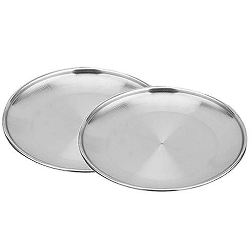 Weanty Teller Platte Set Edelstahl für Camping Grillen Party Verschiedene Größen 2-teilig Size 30cm (silbrig)