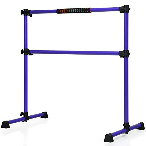GYMAX Double Ballet Barre with Non-slip Stand, Adjustable Stretching Bars, Freestanding Portable...