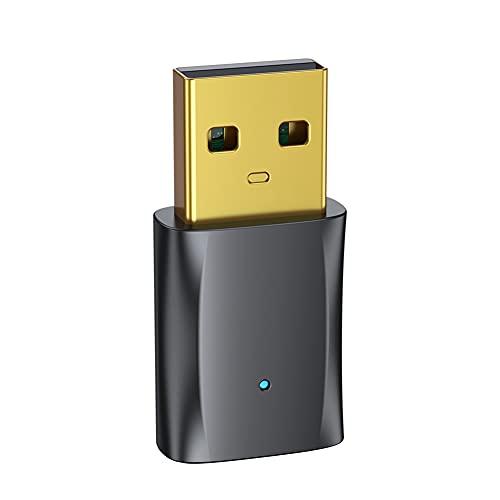 iSpchen USB para Automóvil, Bluetooth, Adaptador de Audio Inalámbrico 5.0, Llamada Manos Libres, Baja Latencia, No Atascado, Plug and Play para Teléfono, Videoconferencia, Computadora, Proyector