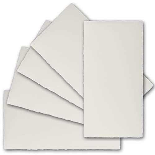 DIN Lang vintage kaarten, echt schuttpapier, 100 x 210 mm, ivoor halfmat - zonder vouwen - Vellum oppervlak - Originele Zerkall-Beitjes 25 Einzelkarten natuurlijk wit