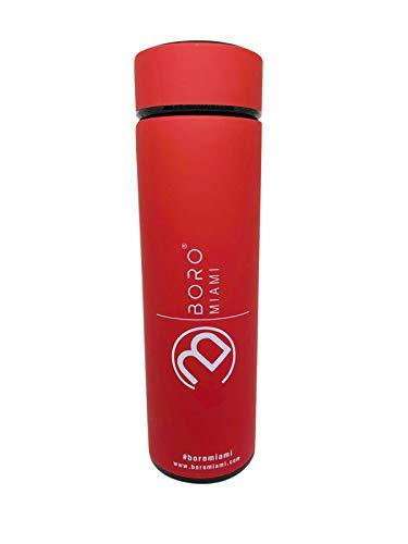 Boro Bottle® Premium Edelstahl Flasche to Go für Fahrrad, Kinder, Schule & Büro - BPA-Frei - Thermoskanne to Go 0,5L inklusive Sieb für Tee und Früchte (Rot)