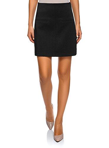 oodji Ultra Mujer Falda Trapecio con Bolsillos Decorativos, Negro, ES 42 / L