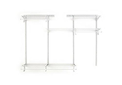 ClosetMaid 8808 ShelfTrack Adjustable Closet Organizer Kit, White, 4' to 6'