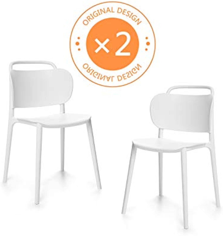 Suhu Stuhl Retro 2er Set Esszimmerstühle Esszimmer Designer Sessel Esstisch Stühle Modern Küchenstühle Stapelstuhl Gartenstuhl Loungesessel Esszimmerstuhl Vintage Schalenstuhl Essstühle Plastik Wei