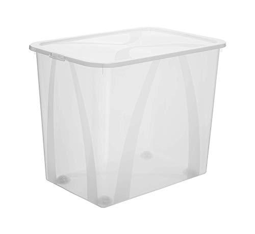 Rotho Arco Aufbewahrungsbox 70l mit Deckel und Rollen, Kunststoff (PP) BPA-frei, transparent, 70l (57,1 x 39,2 x 46,5 cm)
