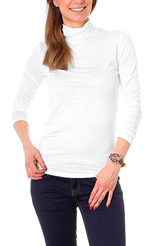 Easy Young Fashion Basic Damen Rollkragen Jersey Shirt Unterzieher Longsleeve Enganliegend Langarm Einfarbig One Size Weiß