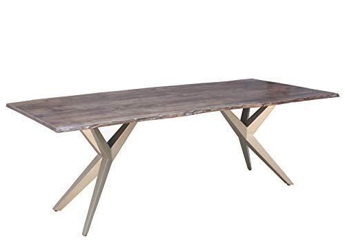 Table à manger 220x100cm - Bois d'acacia laqué (Taupe/Gris mat) - FREEFORM 4