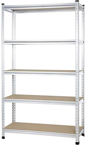 Amazon Basics - Estantería de rejilla de cartón prensado, de doble poste, con varios estantes, de resistencia mediana - 121 x 45 x 182 cm