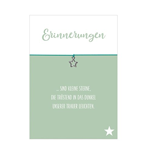 Glücksschmiedin Wunscharmband Trauer und Trost Erinnerungen mit Stern Anhänger versilbert, elastischem Textilband in türikis und liebevoller Karte