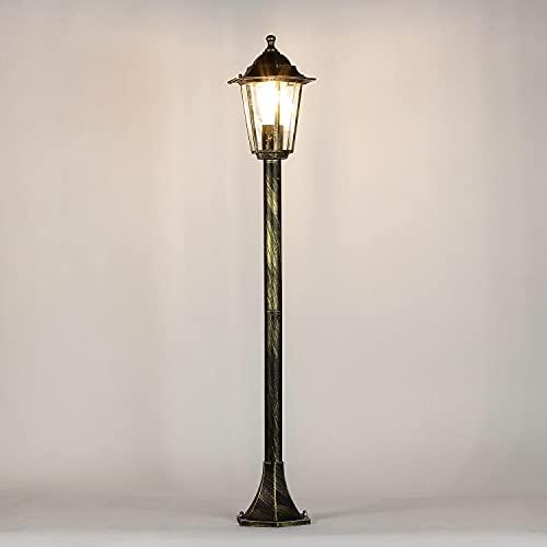 Lámpara de jardín rústica lámpara de camino oro antiguo E27 IP44 lámpara de exterior lámpara de pie lámpara de terraza patio